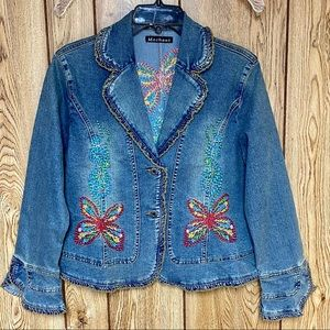 Boho Denim Jean Jacket Embroidered Flare Sleeve